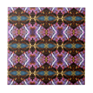 Rich Jewel Tones Abstract Fractal Tribal Pattern Ceramic Tile