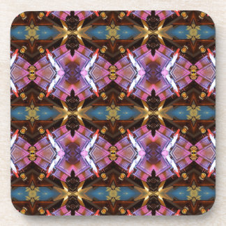 Rich Jewel Tones Abstract Fractal Tribal Pattern Coaster