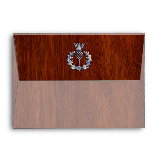 Rich Mahogany Wood Scottish Thistle Print Envelope