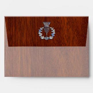 Rich Mahogany Wood Scottish Thistle Print Envelope