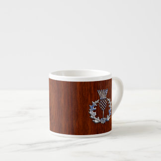 Rich Mahogany Wood Scottish Thistle Print Espresso Cup