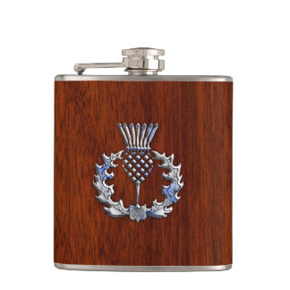 Rich Mahogany Wood Scottish Thistle Print Flask