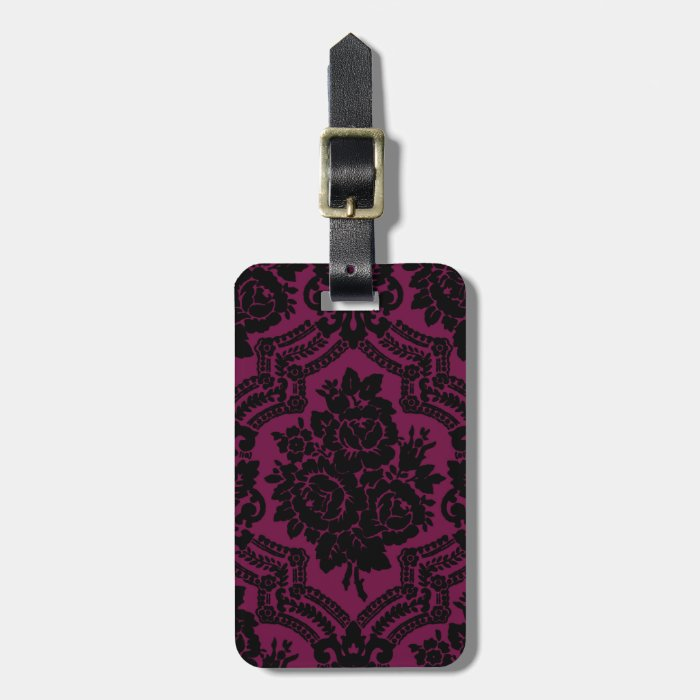 Rich maroon and black victorian pattern. bag tag