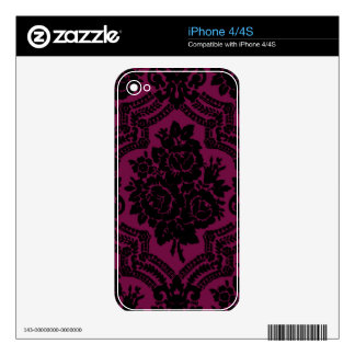 Rich maroon and black victorian pattern. decals for iPhone 4