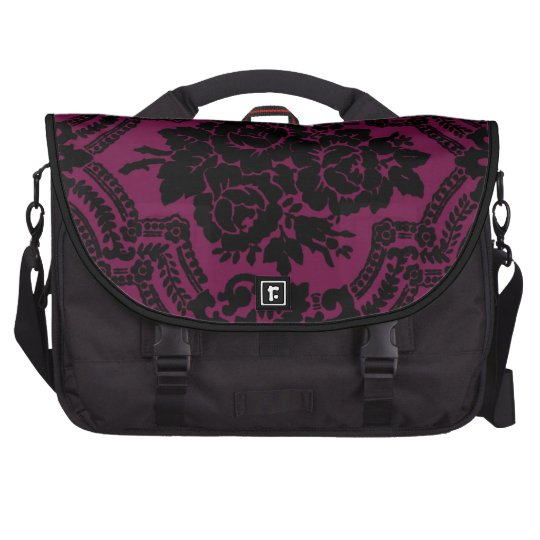 Rich maroon and black victorian pattern. laptop bag