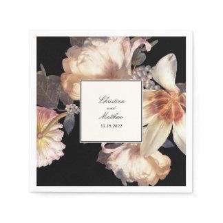 Rich Moody Floral Elegant Wedding Napkin