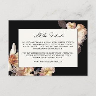 Rich Moody Floral Wedding Details Enclosure Card