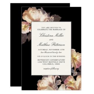 Rich Moody Floral Wedding Invitation