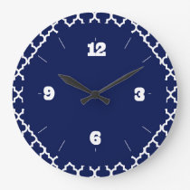 Rich Navy Blue and White Quatrefoil Pattern Large Clock