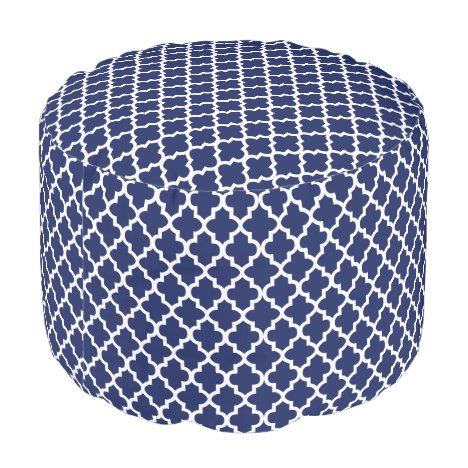 Rich Navy Blue and White Quatrefoil Pouf