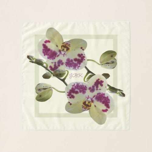 Rich Pale Yellow Orchids Square Chiffon Scarf