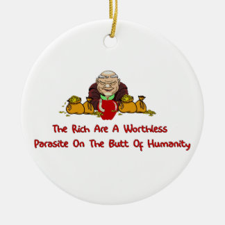 Rich Parasites Double-Sided Ceramic Round Christmas Ornament