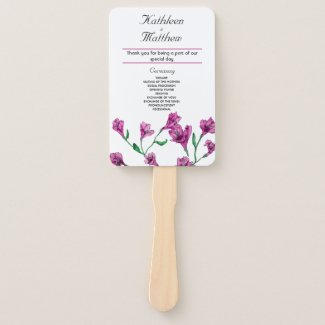 Rich Pink Clematis Watercolor Floral Wedding Hand Fan
