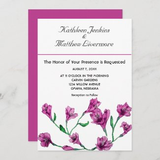 Rich Pink Clematis Watercolor Floral Wedding Invitation