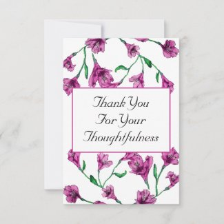 Rich Pink Clematis Watercolor Floral Wedding Thank You Card