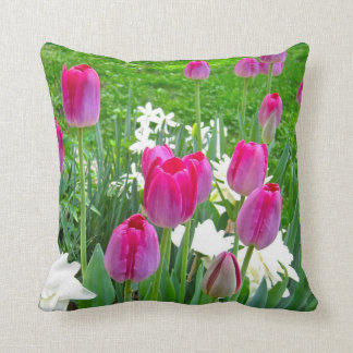 Rich Pink-Color Tulips and Daffodils Throw Pillow