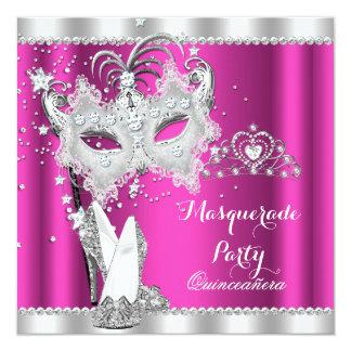 Rich Pink Masquerade Quinceanera Mask Hi Heels Invitation