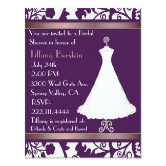 Rich Purple Damask Bridal Shower Invitation