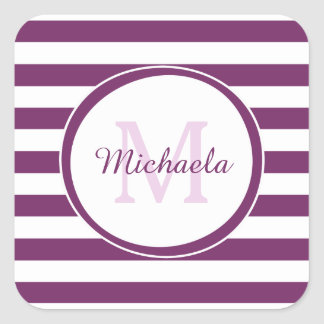 Rich Purple Monogram with Chunky Graphic Stripes Square Sticker