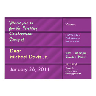 Rich Purple Satin with Sample Text 5x7 Paper Invitation Card