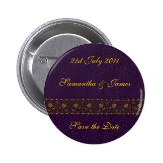 Rich Purple Wedding Pinback Button