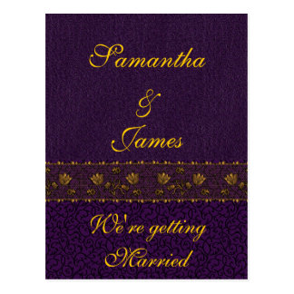 Rich Purple Wedding Postcard