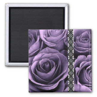 Rich Purple Wedding Rose Bouquet with Lace 2 Inch Square Magnet