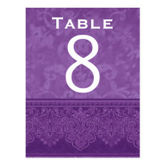 Rich Purple White Damask Wedding Table Number Card Post Card