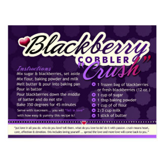 Rich Recipes  BLACKBERRY COBBLER CRUSH Postcard