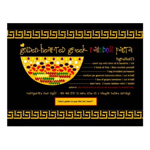 Rich Recipes Golden Hearted Greek Pasta Postcard Zazzle