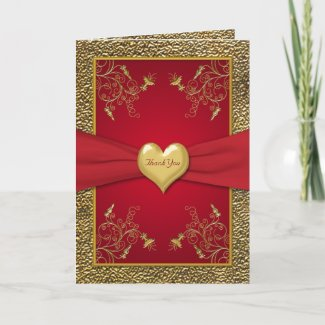 Rich red and Gold Heart Thank You Card card