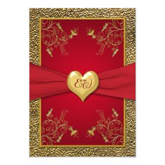 Rich Red and Gold Monogram Wedding Invitation