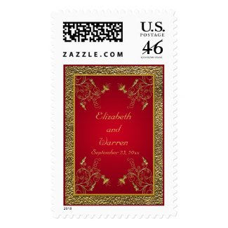 Rich Red and Gold Postage stamp