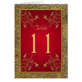 Rich Red and Gold Table Number Card card