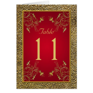 Rich Red and Gold Table Number Card