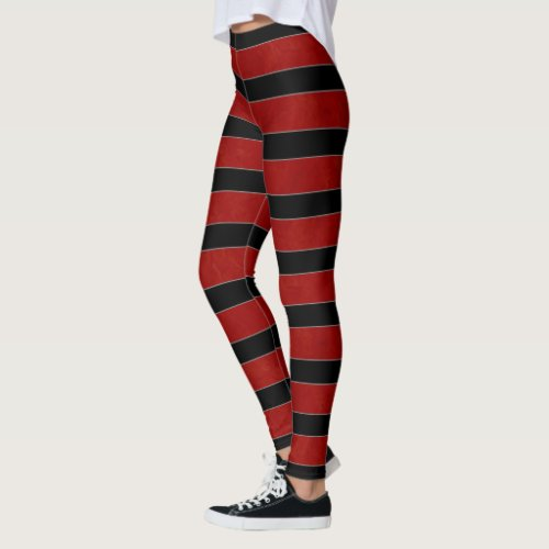 Rich Red Black and Gray Stripes Leggings