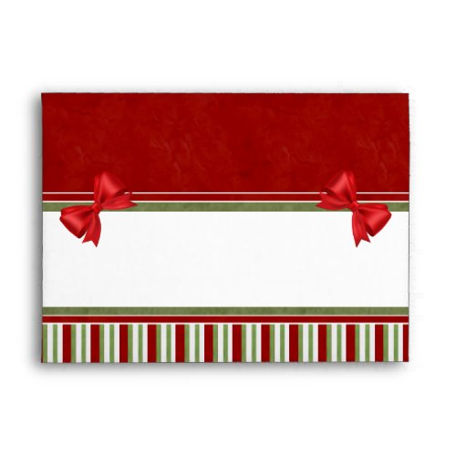 Rich Red Candy Stripes and Bows Envelope