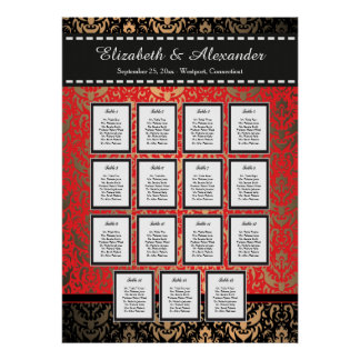 Rich Red Damask Wedding 15 Table Seating Chart