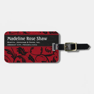 Rich Red Damask with Black Custom Luggage Tag