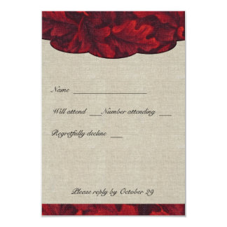 Rich Red Fabric Leaves & Linen rsvp with envelopes Card