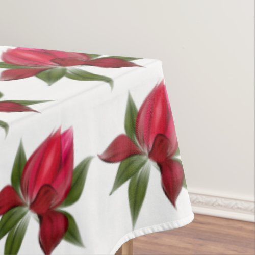Rich Red Floral Tablecloth