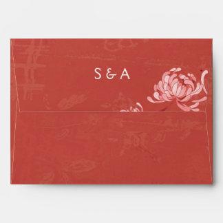 Rich Red Floral Wedding Invitation A7 Envelopes