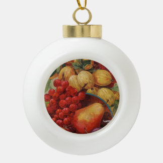 Rich Red Fruit Ceramic Ball Christmas Ornament