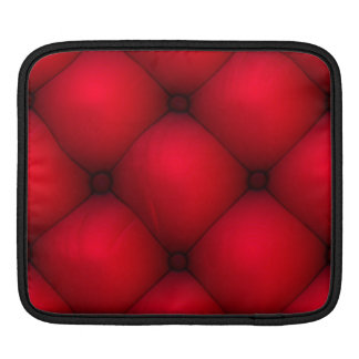 Rich Red Leather Tuck & Roll Interior Sleeve For iPads