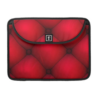 Rich Red Leather Tuck & Roll Interior Sleeve For MacBooks