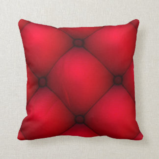 Rich Red Leather Tuck & Roll Interior Throw Pillow