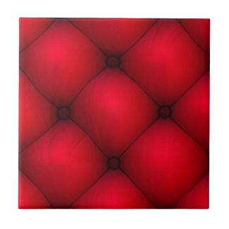 Rich Red Leather Tuck & Roll Interior Small Square Tile
