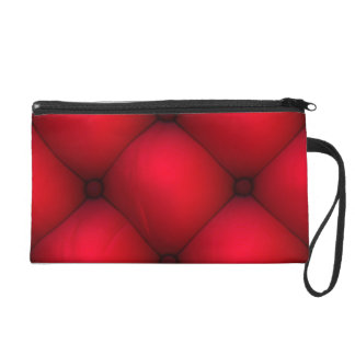 Rich Red Leather Tuck & Roll Interior Wristlet Purse