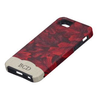 Rich Red Leaves and Linen Monogrammed iPhone SE/5/5s Case