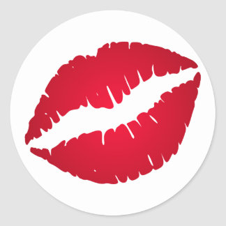 Rich Red Lipstick Classic Round Sticker
